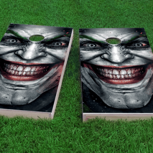 the jokerthemed custom cornhole board design
