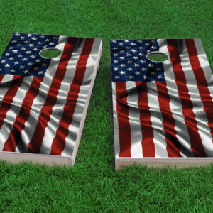 waving american flag themed custom cornhole board design