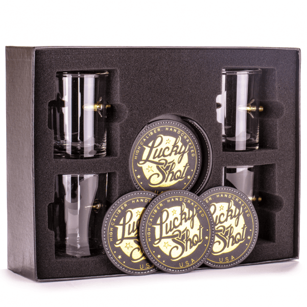 .308 Bullet whiskey glass with Coasters Gift set- Made in ths USA