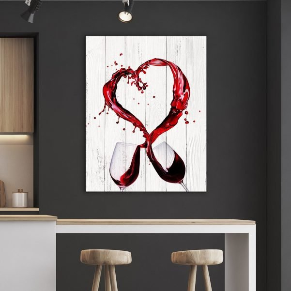 WINE HEART KITCHEN AND DINING ROOM WALL DECOR CANVAS SET - Made in the USA