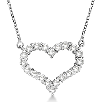 Diamond Heart Pendant Necklace 14K White Gold Made in USA