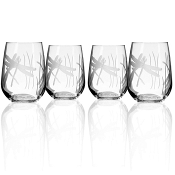 Dragonfly Stemless Tumbler Wine Glasses Set of 4 American Made