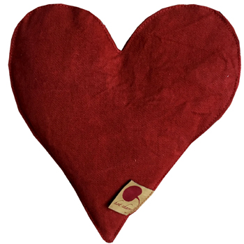 Heart Shaped Hot Cherry Pillow in Red Denim Made in USA