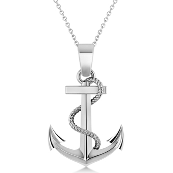 Mens Anchor Pendant Rope Chain 14k White Gold Made in USA