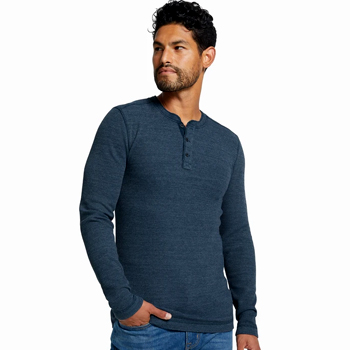 Mens Thermal Henley Shirt Made in USA
