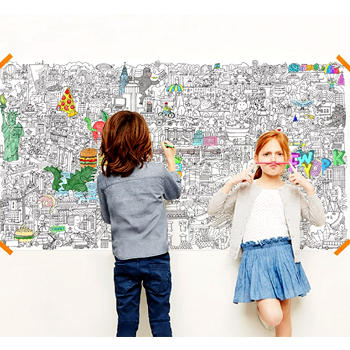 NYC Big Apple Really Big Coloring Poster 63 inchx 36 inch American Made