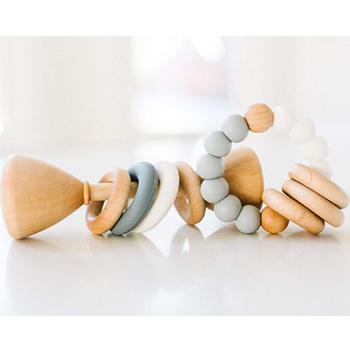Natural Baby Rattle and Teether Toy American Made