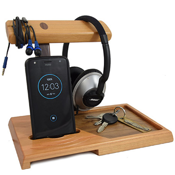 Natural Wood Valet Tray and Headphone Stand Made in USA