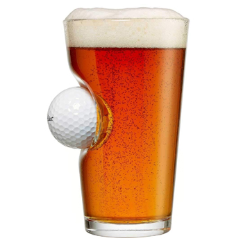 Pint Glass with Real Golf Ball American Made