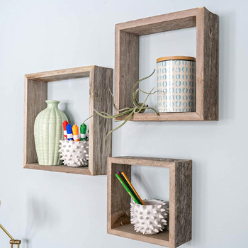 Rustic Floating Wood Shadowbox Shelves Set of 3 Made in USA