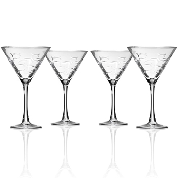 School of Fish Stemmed Martini Glasses Set of 4 Made in USA