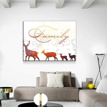 Sunset Deer Family Wall Canvas Set Made in USA