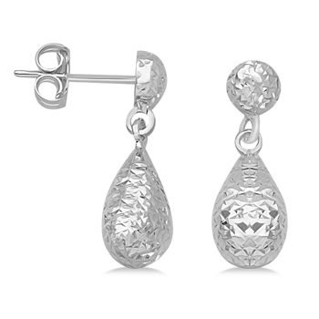 Teardrop Earrings in 14k white gold Made in the USA