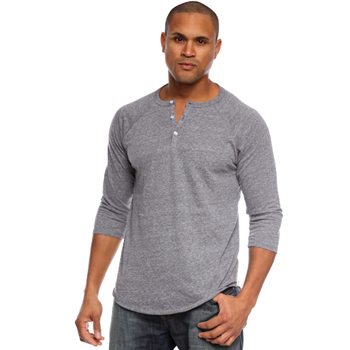 Triblend 3 Quarter Sleeve Henley Mens Shirt Made in USA