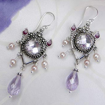 Upscale Bohemian Pink Amethyst and Pearl Chandelier Drop Earrings Made in USA