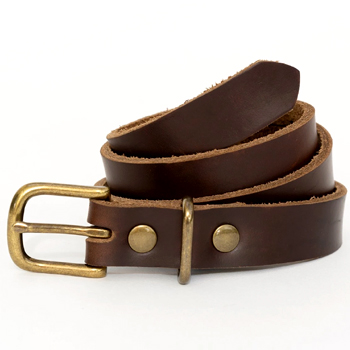 Womens Brown Leather Belt Made in USA