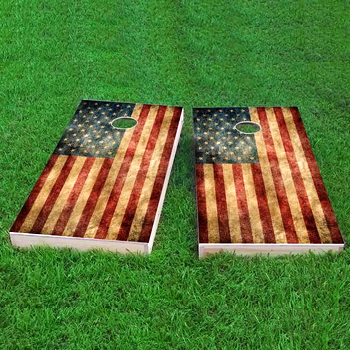 worn american flag cornhole board set made in usa