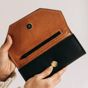 Black and Camel Leather Womens Wallet Made in USA