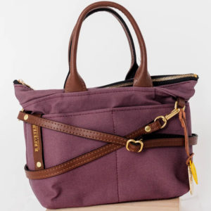 Dot Winterberry Canvas Brown Leather Womens Handbag Made in USA