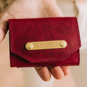 Mini Wallet Holiday Cranberry Leather made in usa
