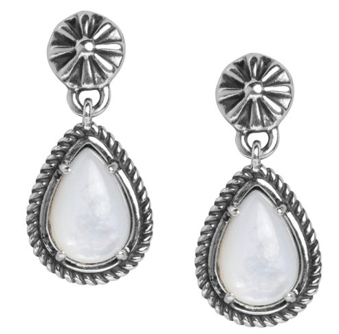 Sterling Silver White Mother of Pearl Gemstone Drop Earrings Made in USA