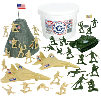 TimMee Bucket of Army Men Tan vs Green 54pc Soldier Playset American Made