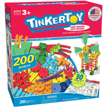 Tinkertoy 200 Piece Super Building Set American Made