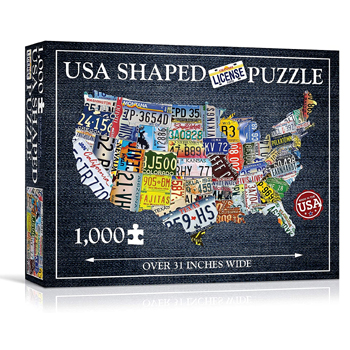 USA License Plate Map 1000 Piece Jigsaw Puzzle American Made