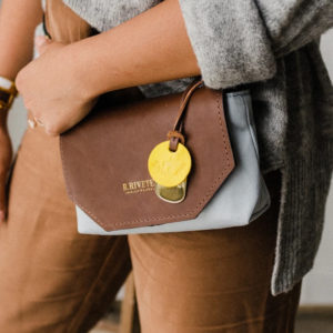 Whittle Frost Canvas Brown Leather Handbag Made in USA