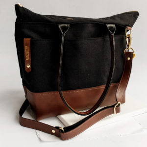 Williams Signature Black Canvas Brown Leather Tote Bag Made in USA